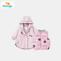 【5折价:299.5】马卡乐女宝宝套装女童中长款两件套印花满印马甲2019年冬新款