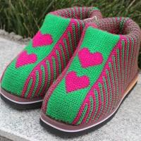 手工棉鞋女男加厚保暖冬季毛线鞋子编织成品批发拖鞋月子中老年