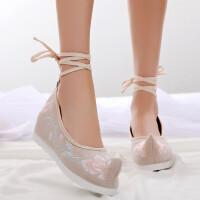 淡雅汉服鞋子女古风内增高绣花鞋翘头百搭古装鞋学生配汉服的鞋子