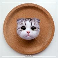 羊毛毡戳戳乐仿真猫头材料包 饰品挂件 手工礼物