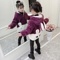 女童毛绒外套秋冬装童装保暖儿童
