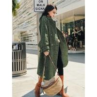 七格格毛呢外套女中长款韩版2018新款冬季上衣厚款宽松长呢子大衣