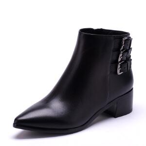 【3折到手价149.7元】ST&SAT星期六专柜低跟骑士靴牛皮英伦尖头女士鞋SS54112943