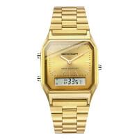 潮流金色手表钢带电子表男女士双显计时闹钟多功能防水学生石英表