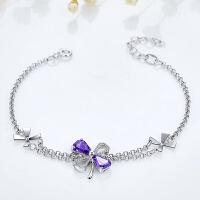 紫色晶石四叶草银饰简约时尚生日礼物