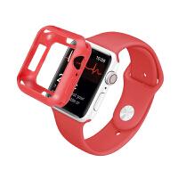 适用iwatch4手表表壳苹果手表4代保护壳apple watch 4保护壳糖果色软硅胶 硅胶表带【红色】+