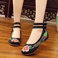 牛筋底女布鞋坡跟民族风红色低跟单鞋广场舞蹈鞋刺绣新娘鞋 黑色 红尾孔雀