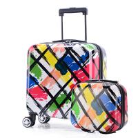 登机子母箱14寸手提箱12寸化妆包迷你拉杆箱小箱旅行箱包行李箱 涂鸦(子母箱) 镜面有膜