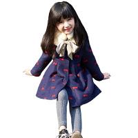 童装女童毛呢外套秋冬装中长款儿童洋气冬季圆领呢子大衣