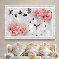 十字绣钟表2018新款线绣客厅简约现代小幅简单绣卧室可爱挂钟时钟