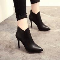 舒适好看!时尚新品短靴女秋冬英伦风女靴尖头靴子高跟性感细跟加绒踝靴女后拉链女鞋青春靓丽