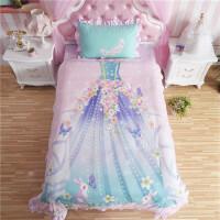 儿童四件套女孩公主风韩式纯棉全棉1.2m1.5m床单人三件套床上用品