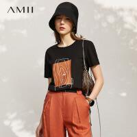 【2件3折70元,再叠90/70/30元礼券】Amii设计感小众印花短袖T恤女2021年夏季新款新疆棉黑色上衣潮ins\