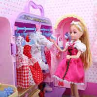 乐吉儿梦幻衣柜芭比娃娃套装大礼盒玩具屋衣服换装女孩生日礼物