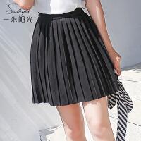 黑色显瘦半身裙女 2017夏季新款韩版百搭a字裙高腰时尚百褶裙短裙