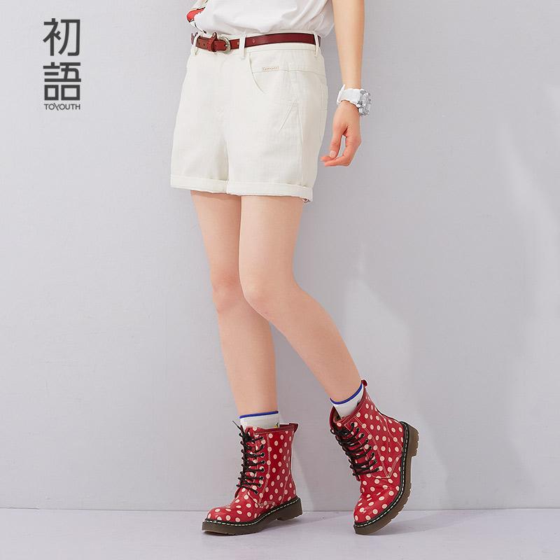 初语夏季新款 百搭纯色阔腿修身显瘦棉质休闲短裤女8622302825