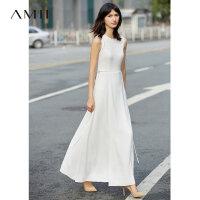 Amii[极简主义]2017夏装新款大码无袖休闲系带层叠连衣裙11791987