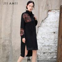 【满200减100上不封顶】AMII redefine2018新款原创国风刺绣纯棉连衣裙中长款宽松卫衣裙