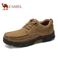 camel 骆驼户外休闲鞋男士磨砂牛皮休闲皮鞋真皮系带休闲鞋子低帮