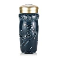 乾唐轩活瓷杯 皇家天马随身杯双层隔热创意陶瓷杯子水杯推荐