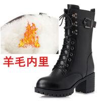 秋冬女单靴马丁靴中筒短靴羊毛加绒棉靴棉鞋中跟军靴大码女鞋