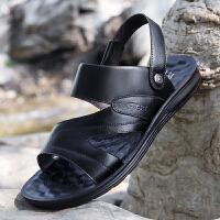 男士凉鞋夏季新款沙滩鞋男潮按摩耐穿软底休闲皮凉鞋男拖鞋两用夏季百搭鞋
