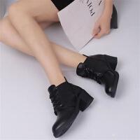 冬季百搭����鞋秋冬短筒女靴保暖加厚�R丁靴短靴防滑粗跟靴子棉鞋