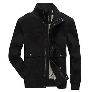 男士纯棉加绒立领夹克简约百搭秋冬男士外套工装大码茄克男士夹克上装