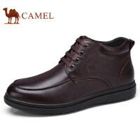 camel 骆驼男鞋2017冬季保暖商务靴加绒靴子男士毛靴系带高帮皮鞋