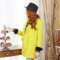 (2件3折价113.4元)唐狮冬装新款外套 女西装式素色长袖中长款呢大衣
