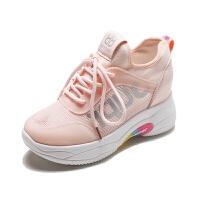 新款夏季网面运动鞋你女透气百搭学生网红厚底内增高女跑步鞋子