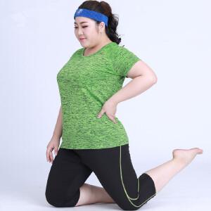 卡茗语加肥加大宽松显瘦大码速干运动健身服 胖MM 吸汗200斤弹力瑜伽服