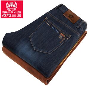 男装厚款牛仔裤舒适棉质加绒咖啡绒内里保暖牛仔长裤休闲直筒中腰裤男士长裤子