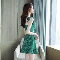 2019夏季裙子吊带裙牛油果绿抹茶绿气质有女人味的性感连衣裙 绿色