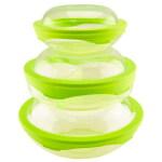 360°硅胶盖 鲜乐仕保鲜盒3件套(6P)SQ-0601 新芽绿