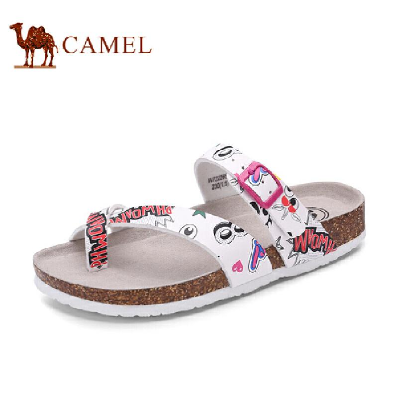 骆驼牌女鞋 新品时尚夹趾印花凉拖鞋休闲女鞋简约沙滩鞋