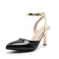 O'SHELL欧希尔夏季上新007-66-2韩版高跟尖头后空女士凉鞋