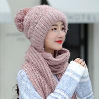 帽子女秋冬天韩版潮可爱学生百搭长款围巾连体加厚保暖针织毛线帽