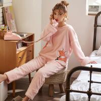 珊瑚绒睡衣女秋冬加绒加厚保暖甜美可爱韩版学生公主风家居服套装