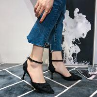 韩版尖头高跟鞋女中空绸缎面包头凉鞋夏季新款细跟中跟单鞋工作鞋夏季百搭鞋