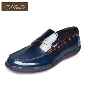 宾度男鞋春季英伦休闲鞋男青年套脚鞋子男平跟漆皮鞋男男士乐福鞋
