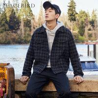 太平鸟男装羊毛呢夹克2019春季潮流格纹翻领夹克男士毛呢工装