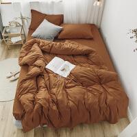 天竺棉四件套针织棉纯棉日式床上裸睡全棉被套床单床笠4件套 1.8M床配220*240被套 床单款