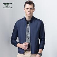 七匹狼夹克男 2017新款时尚休闲净色立领夹克衫jacket潮流男装