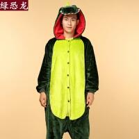 冬季卡通恐龙连体搞怪睡衣男女学生甜美可爱情侣加厚保暖套装
