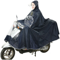 摩托车雨衣单人男女式加大可拆卸双帽檐厚牛津布电动车雨披