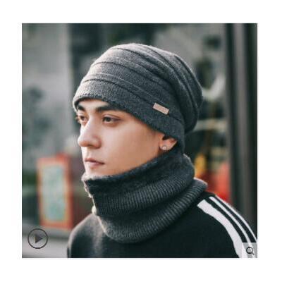 套头帽潮男条纹纯色百搭毛线帽男士帽子骑车保暖护耳棉帽子韩版时尚休闲