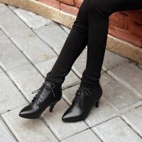 娜箐箐冬新款尖头中跟短靴女鞋系带真皮细跟马丁靴及裸靴皮靴女靴