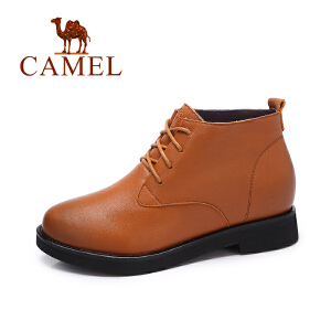 camel/骆驼女鞋  冬季新款 简约英伦风及踝靴短筒靴 系带短靴女