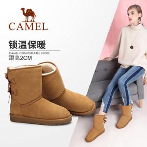 camel/骆驼女鞋 秋冬新款 甜美蝴蝶结雪地靴 舒适防滑中筒靴女靴子